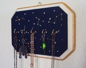 Constellation Wall Art Jewelry Display - Starry Sky Necklace Holder - Decorative Jewelry Organizer - Star Map Decoration - Wall Decor
