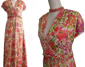 70s maxi floral dress medium