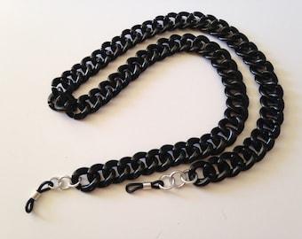 The mattie lightweight plastic black eyeglass chain holder