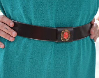 Vachette Box Black Leather Womens Belt With Orange and Bronze Buckle