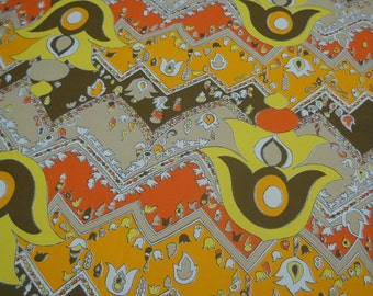 Fabulous Fabric from the 1970s, Funky Polyester, Bright Pattern