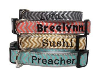 Personalized Chevron Dog Collar - Metallic Chevron Name Collar