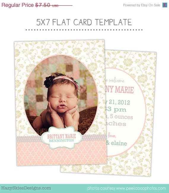sale birth announcement template for photographers photo card template photography birth