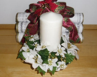 Vintage Christmas Centerpiece - Silver Tone Hammered Metal, Pedestal Candle Holder, Pillar Candle, Silk Flower Candle Ring, White Poinsettia