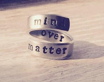 mind over matter spiral aluminum ring