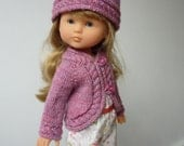 """Hand Knitted Curved & Cabled Shrug/Cardigan and Hat (Purple) for 13"""" Doll  (Les Cheries, Little Darling, Similar) - Ready to Ship"""