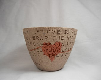 Jack White / U2 - Love Is Blindness - Tangled Heart Bowl #1 / Clay Bowl / Pottery Bowl / Ceramic Bowl