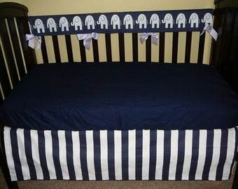 Bumperless Crib Set in Premier Prints Stripe/Elephant