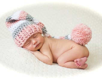Crochet pixie elf long tail beanie hat newborn 0-3 3-6 month infant boy or girl pink blue grey and white great for twins photo prop