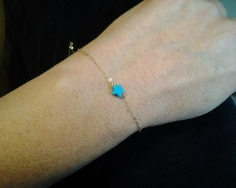 Turquoise Bracelet Minimalist Turquoise jewelry star delicate chain minimalist jewellery