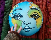 Earth Pillow- Handmade Educational Art Kids & All Ages - Eco Friendly Compassion Gaia WORLD PEACE PILLOW