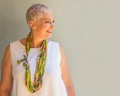 Lime green textile necklace - Multi strand fabric necklace - Textile jewelry -  gift idea