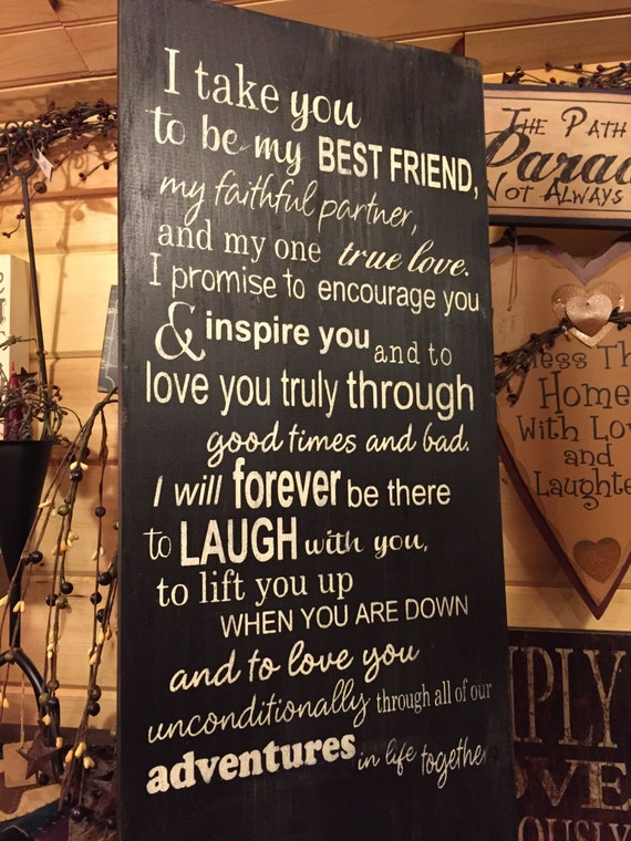 Wedding Readings For Friends: I Take You To Be My Best Friend Wedding Vows Wood Sign