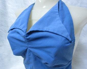 Vintage 1970's Blue Halter Top with Big Collar and Hidden Buttons // Vintage Summer Hipper Halter // BOHO Halter Fashion //