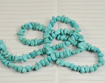 One Full Strand---Nugget howlite Turquoise Beads----7mm- 10mm----about over 65 Pieces----16inch strand