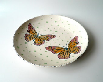 SALE Ceramic Serving Platter, Plate in Satin White with Hand Painted Butterflies, Blue and Green Dots, Wedding Gift, Valentine's Day