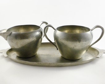 Daalderop Tiel Pewter Sugar Bowl and Creamer, Made in Holland, 3 Piece Set