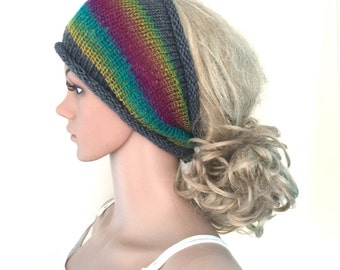 BUY1GET1HALFPRICE,Designer grey rainbow dreadlock headband,womens,teens,yoga hand crocheted/knitted dread tube wrap, hippy,hippie,ooak,boho