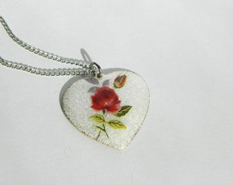 Red Rose Guilloche Heart Necklace