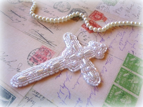 Radiant Cross Beaded With Pearl Applique, White, x 1, For Bridal Apparel, Accessories, Costumes, Mixed Media, Romantic & Victorian Crafts