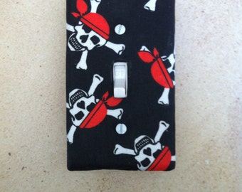 Pirate Switch Plate Cover, Pirate Bedroom Decor, Jolly Roger Switch Plate, Skull and Cross Bones, Pirate Light Switch Plate Cover