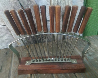 Set of Rosewood Handled Metal Appetizer Hors D'Ourves Forks with Rosewood and Metal Stand Mid Century Modern Japan