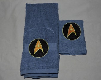 MTO Embroidered Star Trek Hand Towel & Washcloth Set Geekery Nerdy Starfleet Made to Order