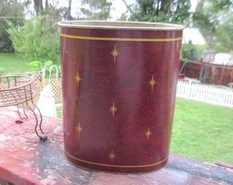 Trash Can, Vintage Trash Can, Waste Basket Tin Country Brown with stars, Waste Basket Trash, Garbage Can, Home Decor, Vintage Home Decor :)S