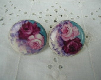 Vintage Porcelain Earrings, Roses with Robin's Egg Blue, Screw Back, Hand Painted Earrings,Romantic Earrings