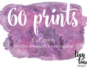 "60 PRINTS - on 100lb. matte cardstock with white envelopes and FREE Shipping (5""x7"" prints)"