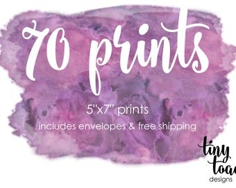 "70 PRINTS - on 100lb. matte cardstock with white envelopes and FREE Shipping (5""x7"" prints)"