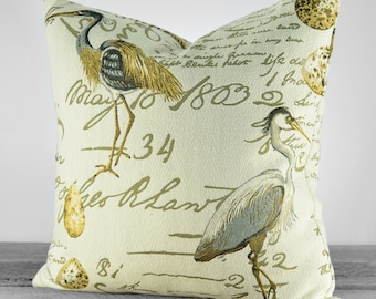 Decorative Bird Pillow Cover - Coastal Birds with Script Writing - Taupe, Beige and soft Browns - Pick Your Pillow Size