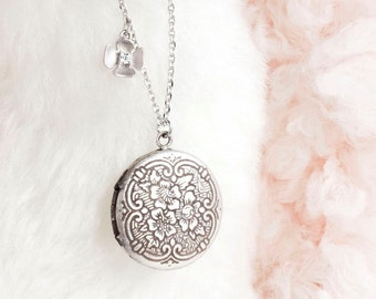 Tiny Round Locket Necklace, Antiqued Silver, Whimsical Jewelry, ej (limited edition)