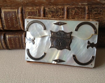 1800s Pearl Writing Case, Aide Memoire, Mother of Pearl Engraved, Early Mechanical Pencil, Journaling Writers Gift