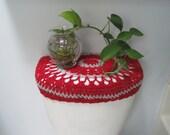 Crochet Toilet Tank Lid Cover or Crochet Toilet Seat Cover - red/light grey (TTL7C or TSC7C)