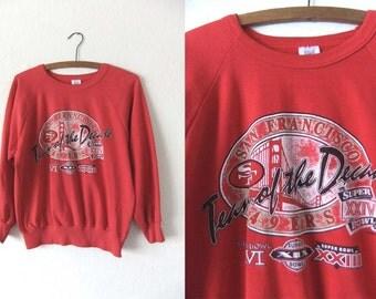 Thrashed San Francisco 49ers NFL Sweatshirt - Niners Throwback Distressed Football Jumper - Womens Medium
