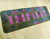 Table Runner Quilted Fuchsia Olive Blue Batik 467