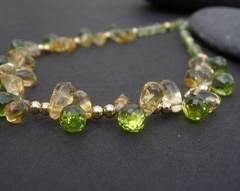 Faceted Natural Gemstone Peridot Briolettes - Natural Gemstone Citrine Smooth Briolettes - 14kt Yellow Gold Filled Necklace