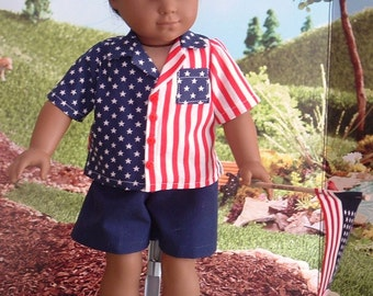 Patriotic Shirt and Shorts Set for American Boy Dolls