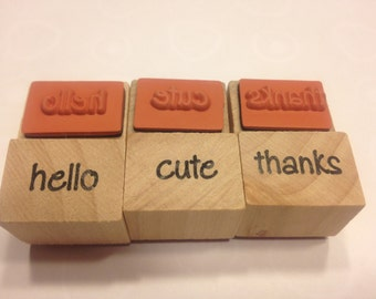 set of hello, cute and thanks stamp, 13-20 mm (SB1)