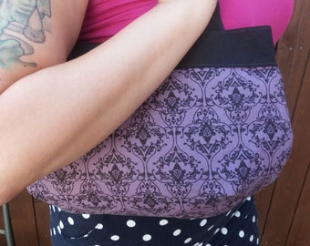 Purple purse, damask fabric, fabric purse, gothic purse, purple goth bag, medium shoulder purse. filagree bag, purple damask