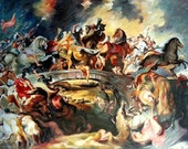 Oil Painting - 48 x 65 - Classical Huge Size - The Battle Of The Amazons - Rubens - Multi Figurative Horses Custom Painting - Large Size