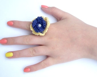 Flower Ring, Bright Blue and Yellow Crocheted Flower Ring, Adjustable Ring