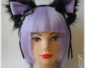 Handmade human size unique furry nekomimi / cat ears headband ~ pastel goth version