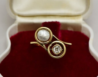 SALE! Victorian natural Persian pearl and diamond twist target ring