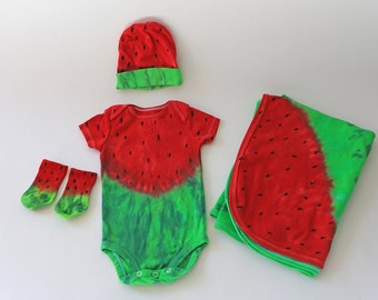 Watermelon Infant Layette #2,  Onesie, Matching Bamboo Cap, Socks and Receiving Blanket, Made To Order