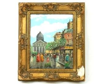1960's European City Street Scene Original Oil Painting