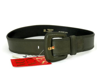 Escada Leather Belt Olive Green Leather New with Tags