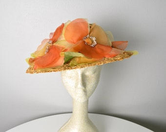 Vintage 1950s 50s Straw Designer Hat with Silk Flowers Norman Durand