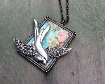 Bird in Flight Necklace/Boho/Cottage Chic/Edwardian/Victorian/Rustic/Recycle